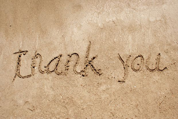 Thank You Drawn in the Sand | Confetti.co.uk