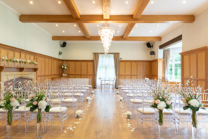 Wedding Aisle Lined with Flower Petals - Luxury Wedding Ceremony Set Up at Silchester House - Bijou Wedding Venue in Berkshire | Confetti.co.uk