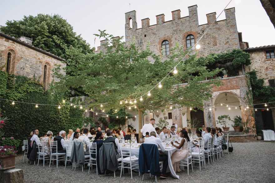 Wedding Reception Lighting and Set Up Ideas - Ana and Kevin's Romantic Italian Castle Wedding in Tuscany by Emma-Jane Photography - romantic Italian Castle wedding at Castello di Montalto | Confetti.co.uk
