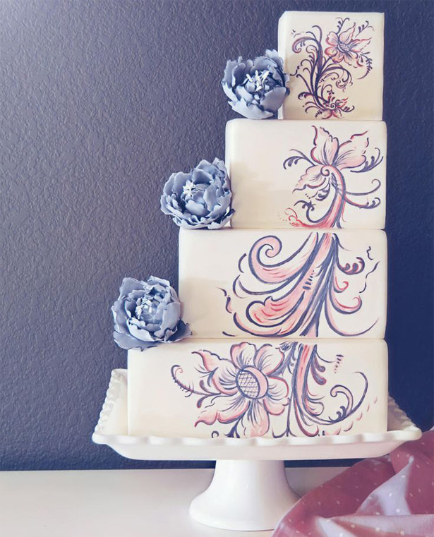 Handpainted Floral Staircase Cake | Confetti.co.uk