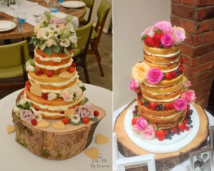 Romantic Naked Wedding Cake by Cake Me by Surprise and Naked Cake with Fruits and Flowers by Amazing Grace Cakes | Confetti.co.uk