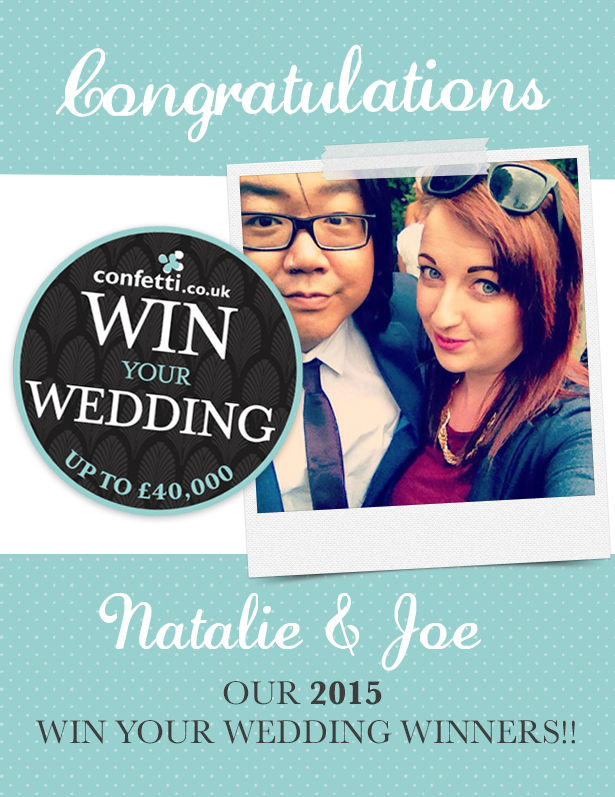 Joe and Natalie, Win Your Wedding 2015 Winners | Confetti.co.uk