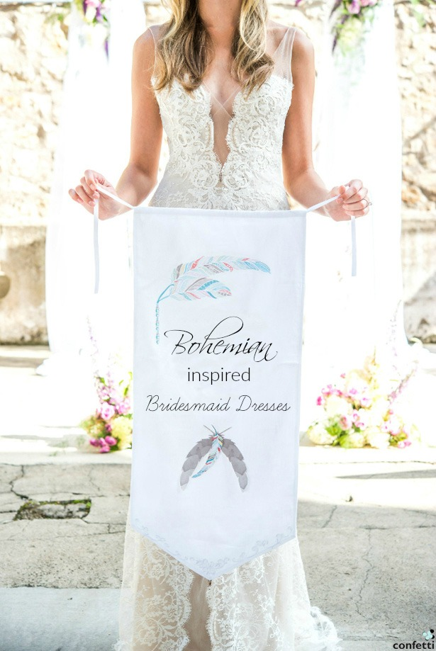 Bridesmaid holding Feather Whimsy Personalised Ceremony Banner