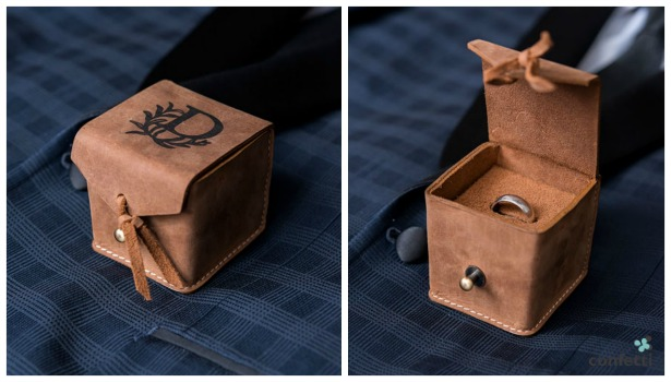 Personalised leather ring box | Confetti.co.uk