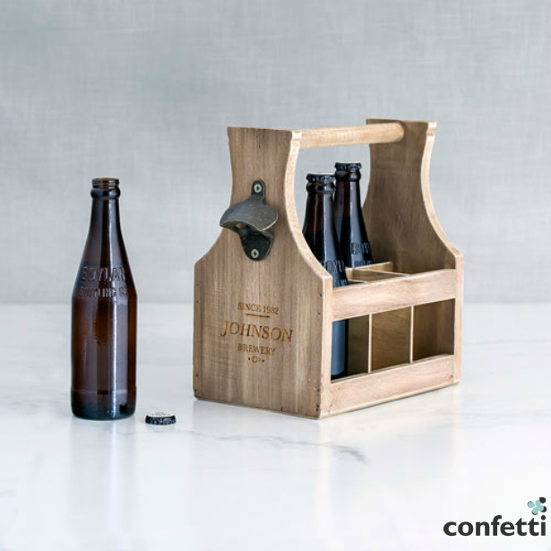 Wooden beer bottle caddy with opener | Confetti.co.uk