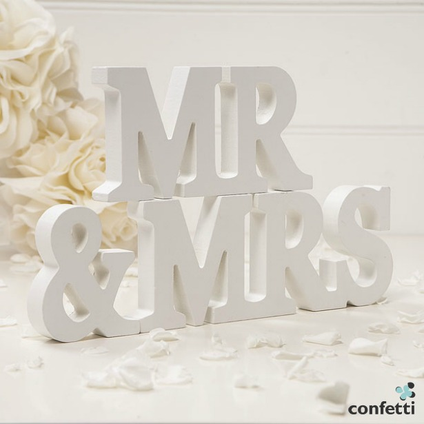 Wooden Mr and Mrs Mr and Mrs quiz questions letters | Confetti.co.uk