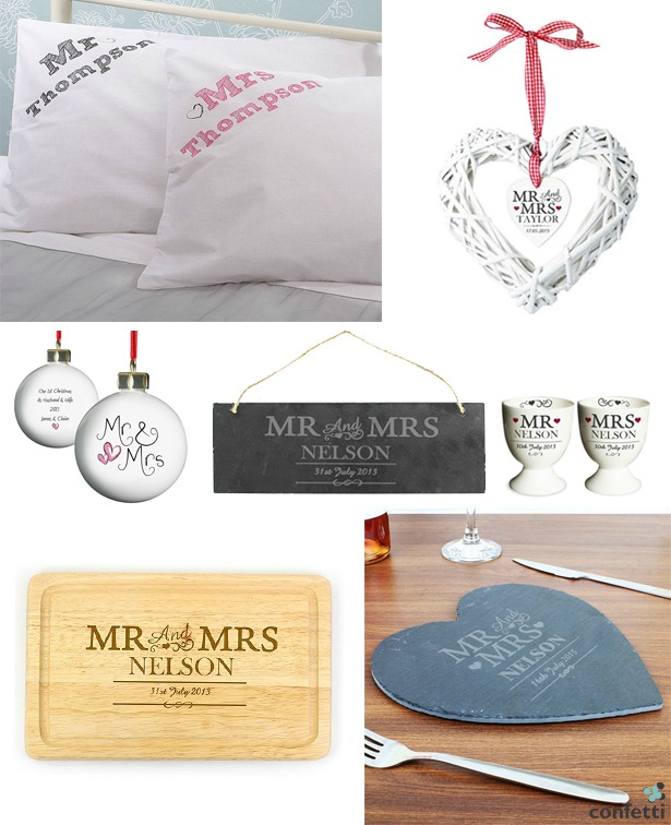 Mr and Mrs Wedding Gifts for the Home