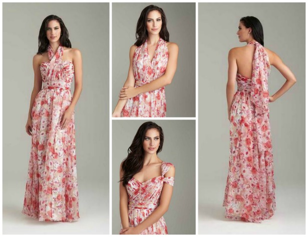 Pink and brown floral multiway bridesmaid dress by Allure Bridal | Confetti.co.uk