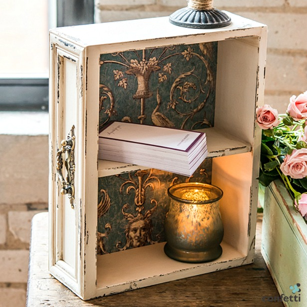 Vintage inspired display drawer with shelf | Confetti.co.uk