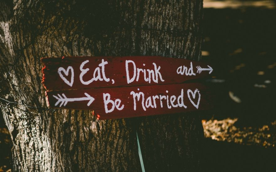 Sign with a wedding toast