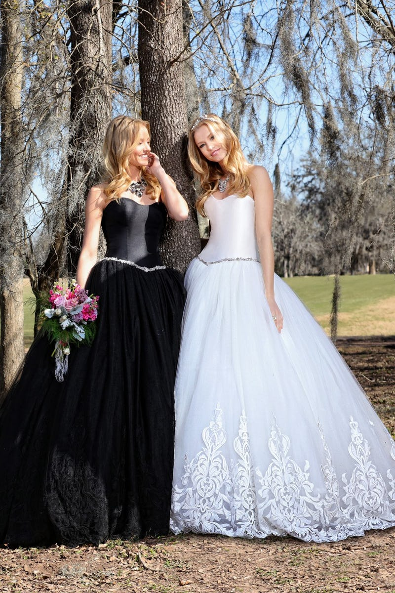 Black and white ballgowns by Ashley and Justin Bride | Confetti.co.uk