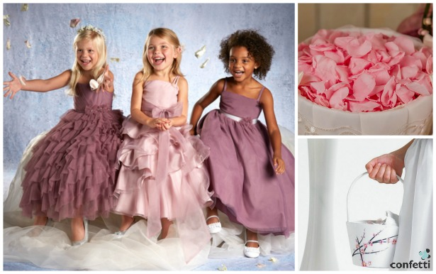Flower girl dresses by Alfred Angelo, baskets and petals by Confetti | Confetti.co.uk