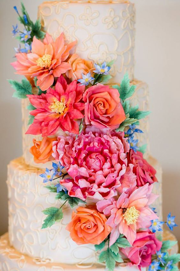 Floral Wedding Cake | Confetti.co.uk