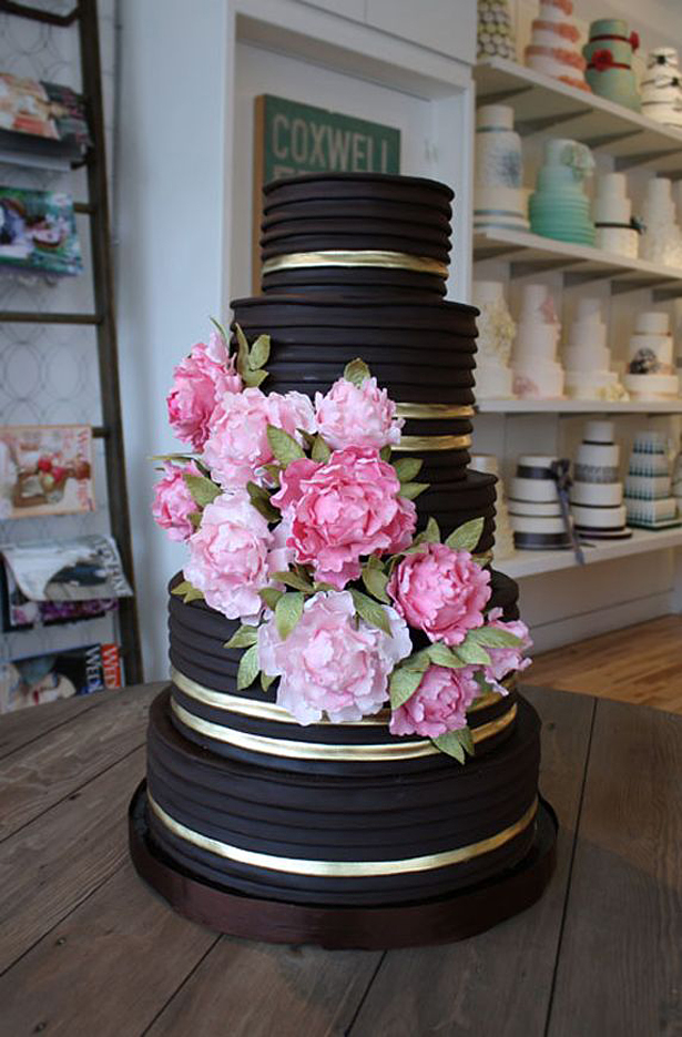 Pink and Black Wedding Cake | Confetti.co.uk
