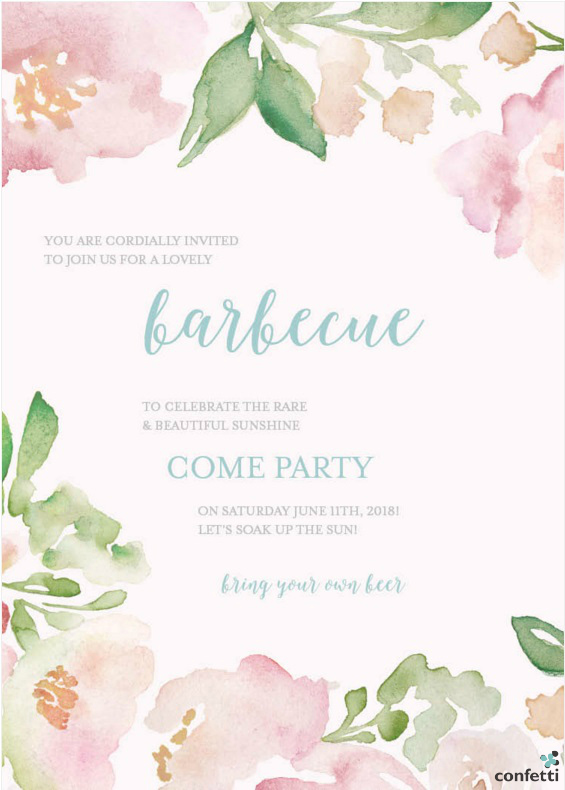 Barbecue Invitation Sample from Confetti.co.uk