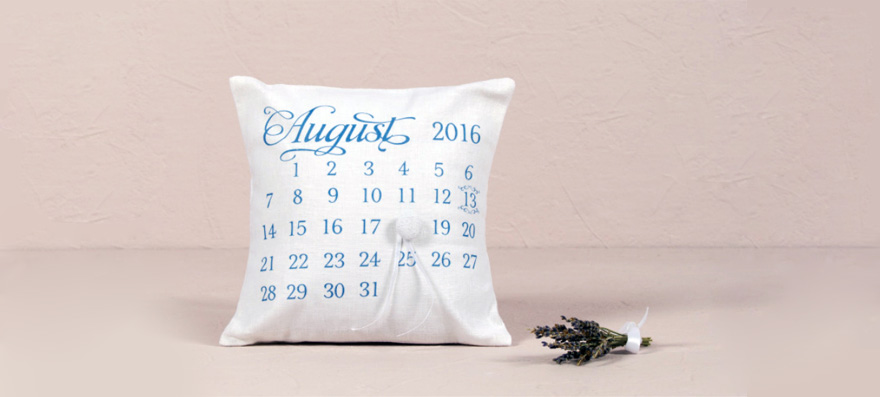 """Notable"" Personalised Ring Cushion with Wedding Date Design 