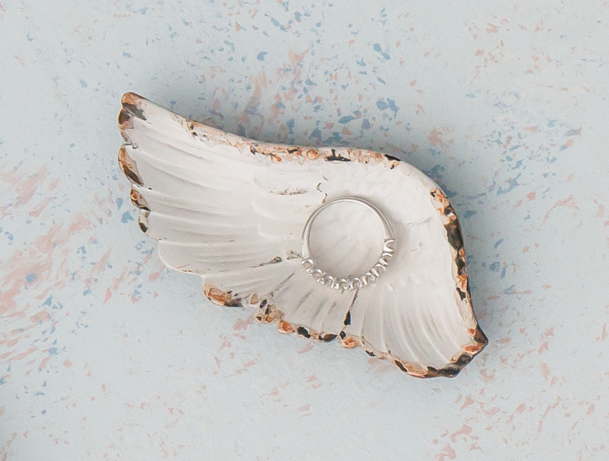 Feather Wing Iron Favour Dish In Distressed White - Angel Wing Ring Box Alternative | Confetti.co.uk