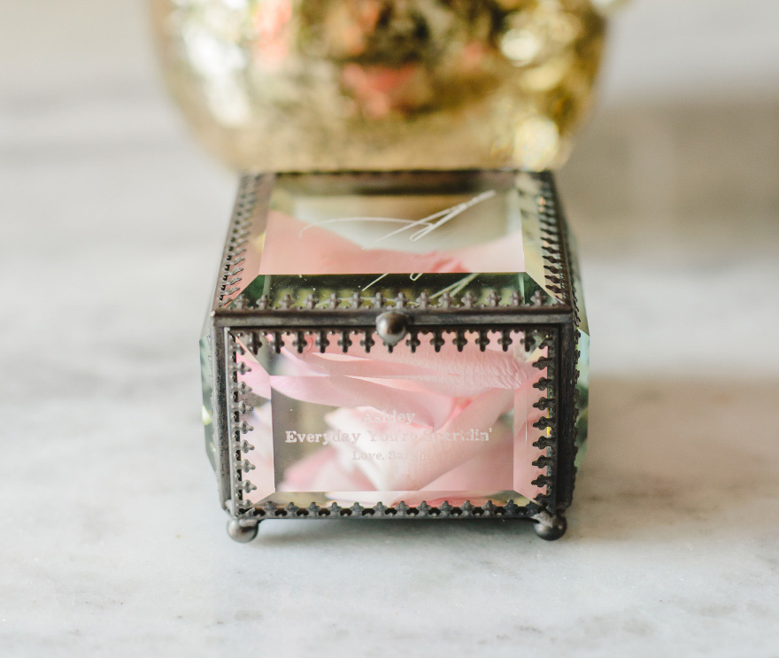 Personalised Vintage Inspired Glass Jewellery Box - Vintage Ring Box Ideas - Glass Ring Box Ideas | Confetti.co.uk