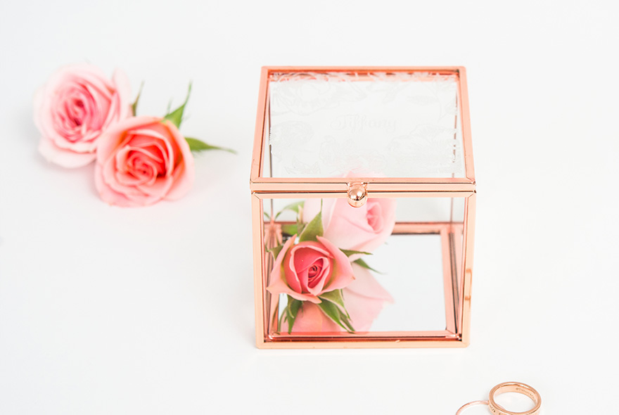 Small Glass and Rose Gold Ring Box Keepsake Box and Jewellery Box - Modern Floral Print | Confetti.co.uk