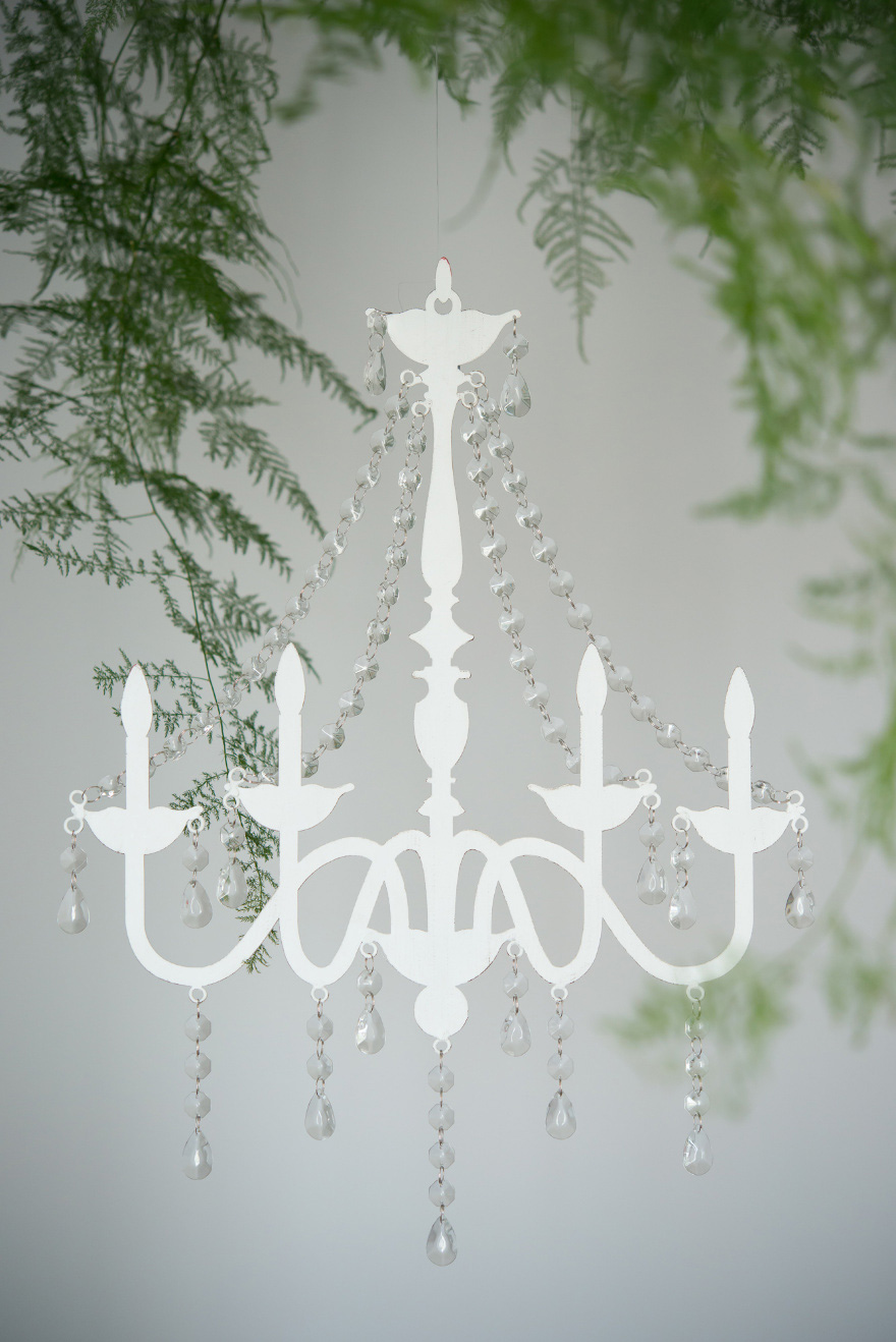 White Chandelier With Acrylic Crystal Garlands | Confetti.co.uk