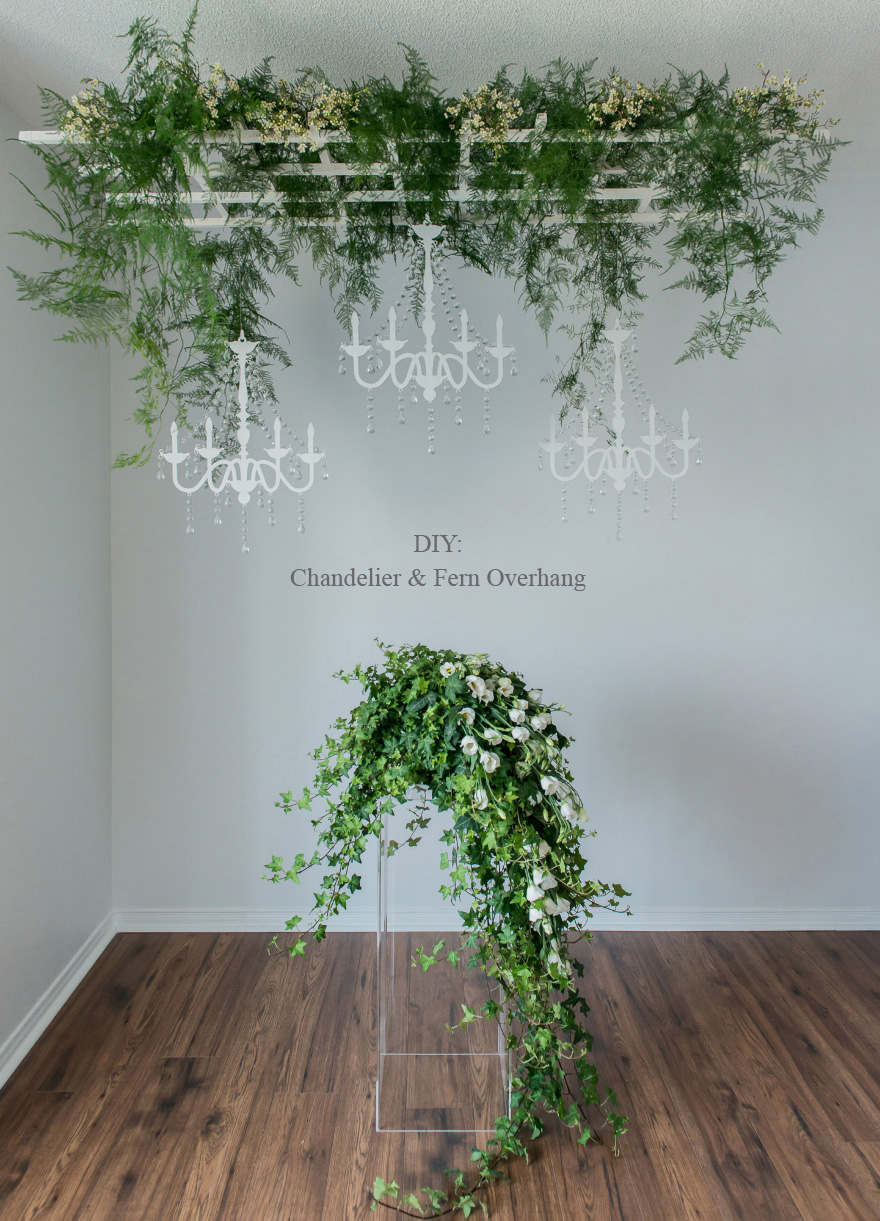 DIY Rustic Glam Chandelier and Fern Overhang | Confetti.co.uk
