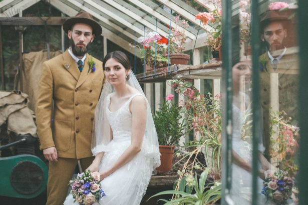 Tweed Suit in a Greenhouse | Confetti.co.uk