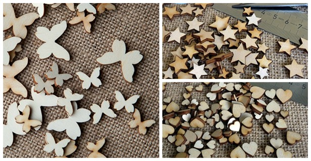Mini mixed wooden butterflies, stars and hearts for wedding DIY| Confetti.co.uk