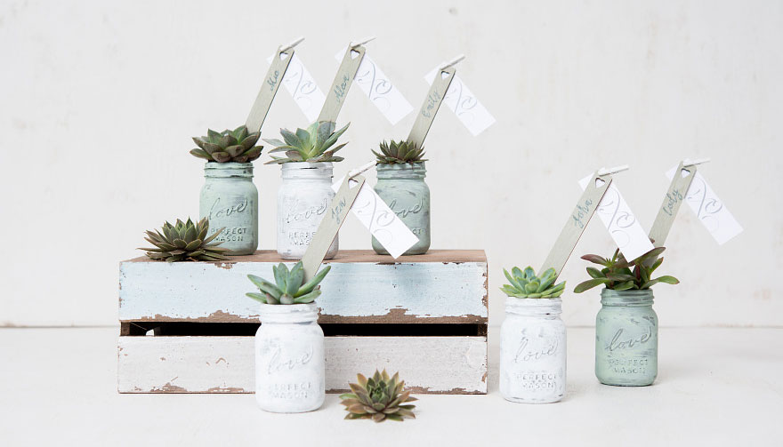 Succulent Mini Mason Jar Favours | Confetti.co.uk