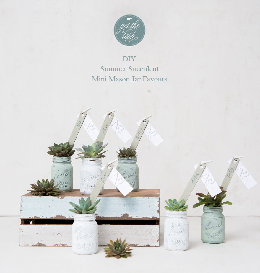 Summer Succulent Mini Mason Jar Favours | Confetti.co.uk