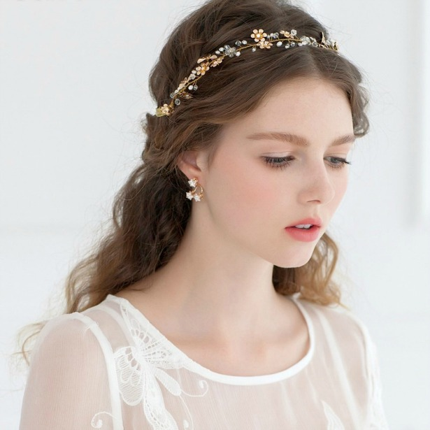 Romantic gold flower crystal headband | Confetti.co.uk