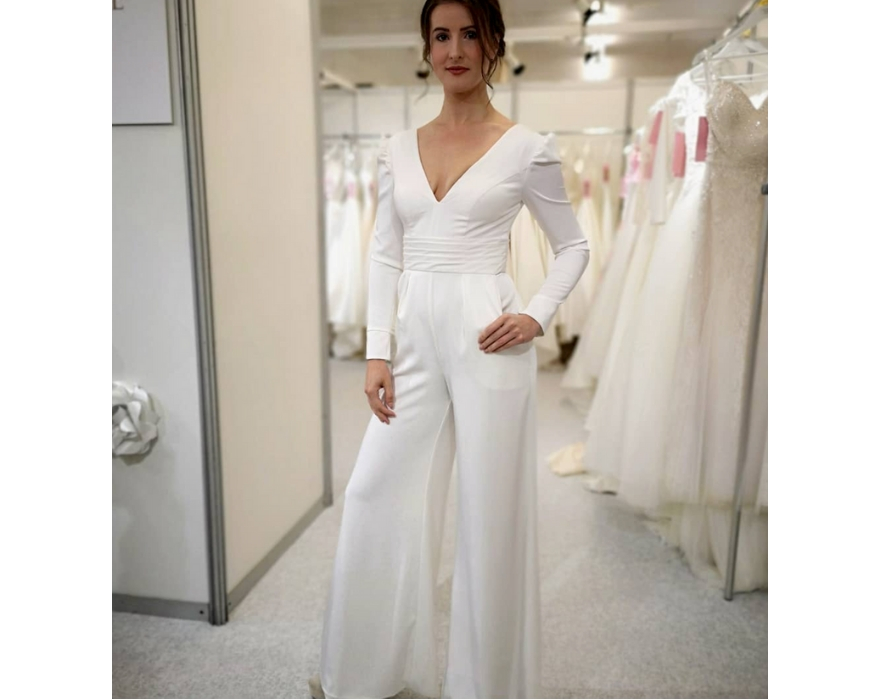 Long sleeved wedding jumpsuit