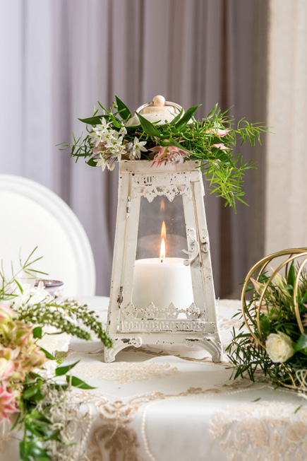 Glass and Metal Aged White Vintage Style Candle Holder Wedding Decor and Centrepiece | Confetti.co.uk