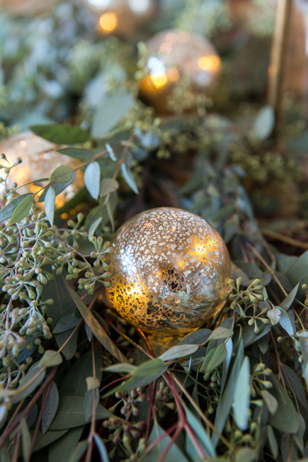 Green and Gold Bauble Lights Christmas Wedding Decor | Confetti.couk