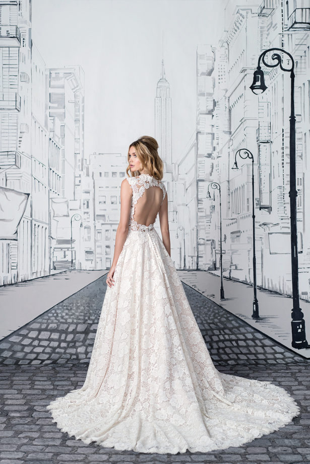 Lace Ballgown with Keyhole Back Justin Alexander style 8904f | Confetti.co.uk