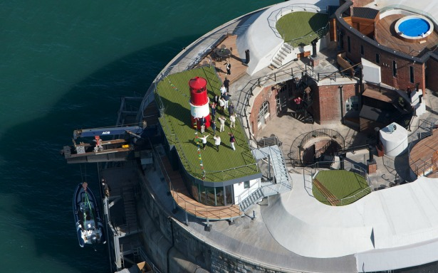 Aerial view of Spitbank Fort | Confetti.co.uk