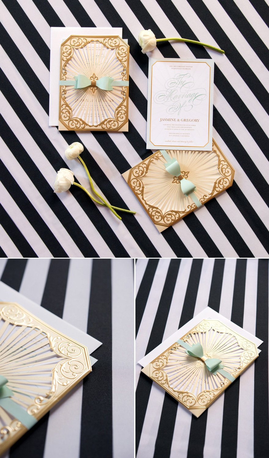 Black and Gold and Mint Green DIY Wedding Stationery with Stripes and Bows Accents | Confetti.co.uk