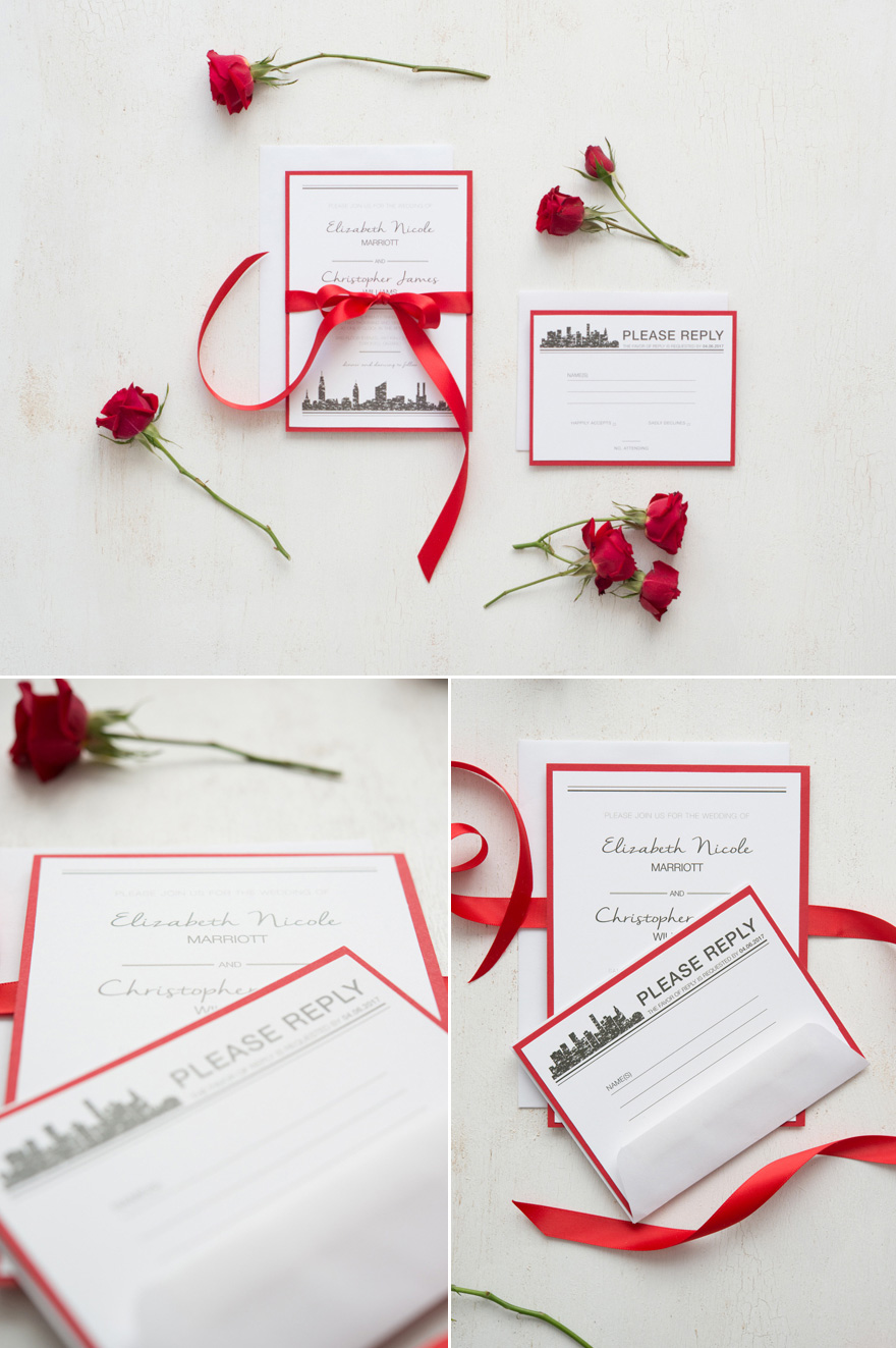 DIY Romantic Red and White Wedding Stationery - DIY Ribbon Wedding Stationery | Confetti.co.uk