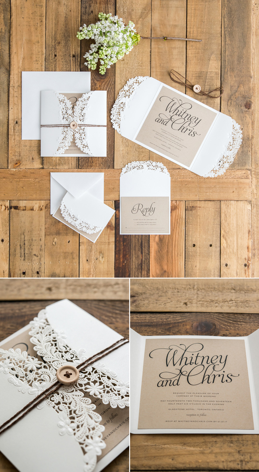 DIY Rustic Glam Buttons and Twine Wedding Stationery Idea | Confetti.co.uk
