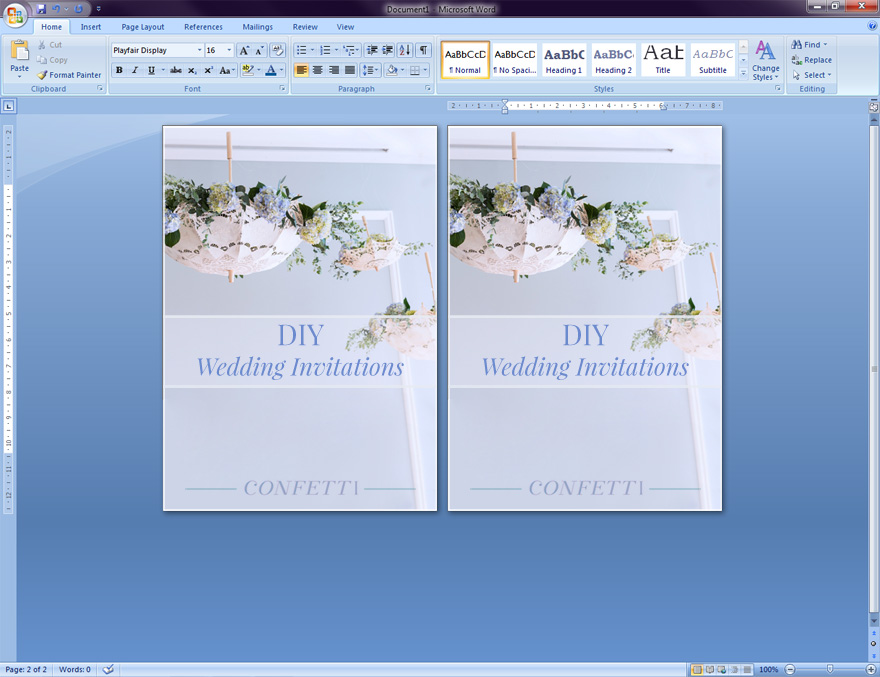 DIY Wedding Invitations - Microsoft Word Walk Through Tutorial | Confetti.co.uk