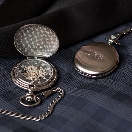 Personalised Gunmetal Mechanical Pocket Watch | Confetti.co.uk