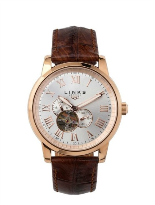 Noble mens rose gold brown leather watch by Links of London   Confetti.co.uk