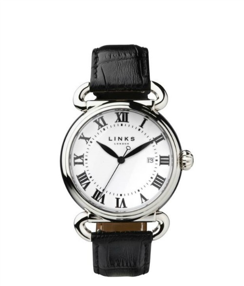 Driver stainless steel black leather watch by Links of London   Confetti.co.uk