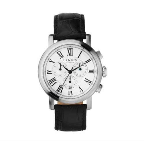 Richmond stainless steel black leather watch by Links of London   Confetti.co.uk