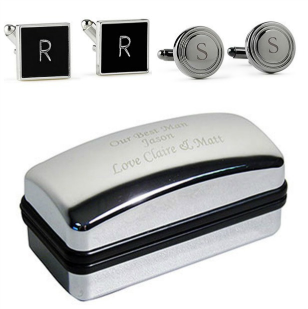 Cufflinks and engraved box   Confetti.co.uk