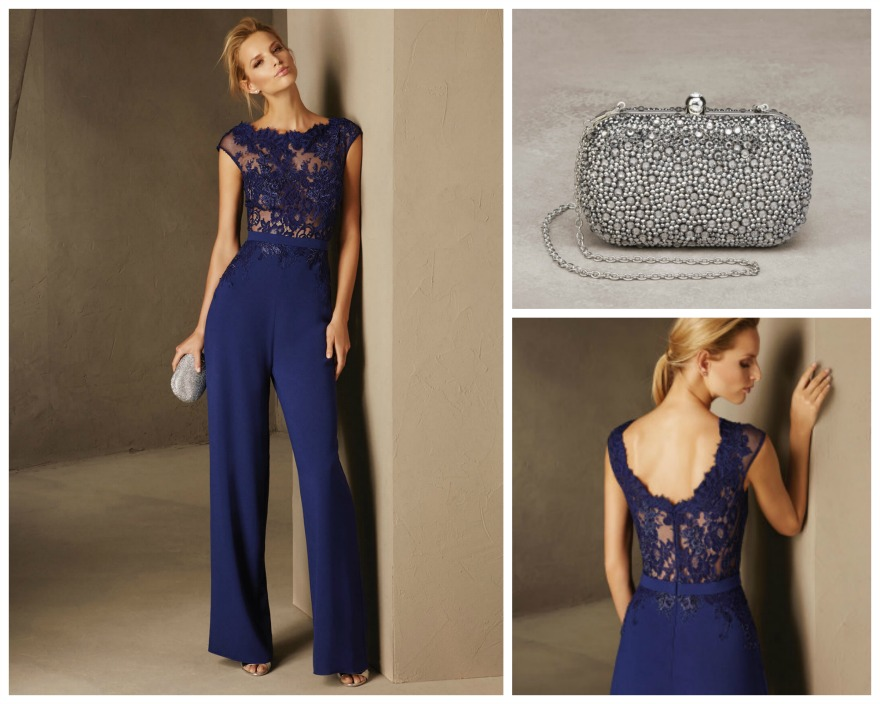 Lace top Breda jumpsuit and silver Tulipan bag, both by Pronovias | Confetti.co.uk