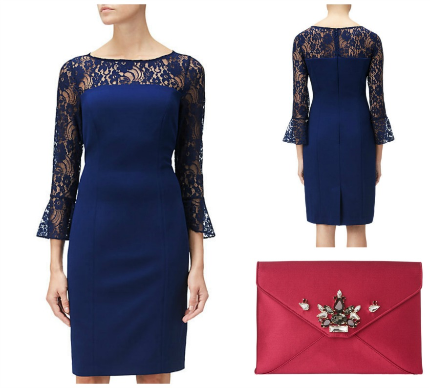 Crepe and lace sheath dress with LK Bennett clutch bag, both at John Lewis | Confetti.co.uk