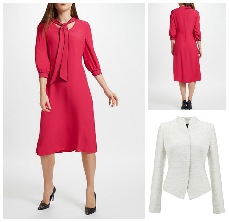 Piped neck-tie dress with sparkle fitted jacket, both at John Lewis | Confetti.co.uk
