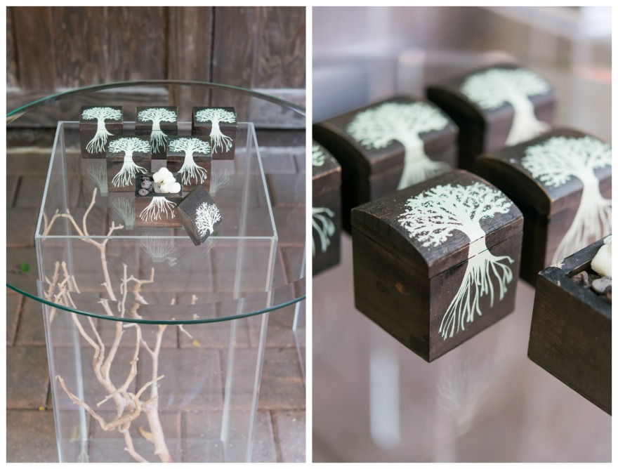 Woodland wedding ideas Miniature wooden favour box with exclusive tree design| Confetti.co.uk