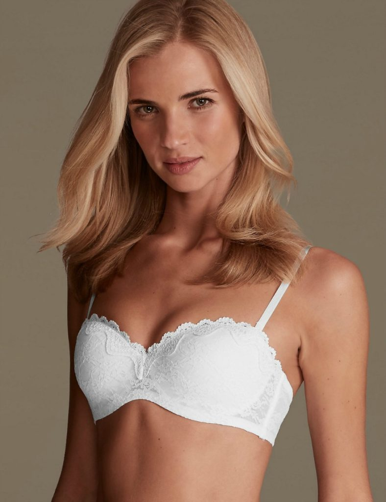 Bridal lingerie all-over-lace bandeau strapless bra by M and S | Confetti.co.uk