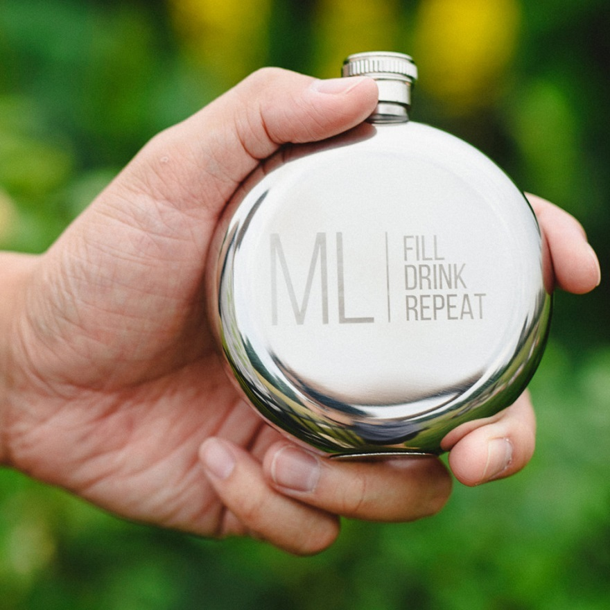 Personalised round silver hip flask | Confetti.co.uk